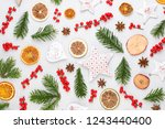 christmas composition. gifts ... | Shutterstock . vector #1243440400