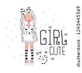cute girl with cat vector... | Shutterstock .eps vector #1243445569