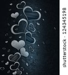 white hearts on a blue... | Shutterstock . vector #124345198