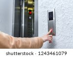 elevator call. man pressing... | Shutterstock . vector #1243461079