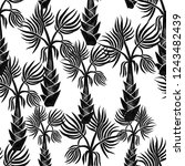 black hand drawn palm trees... | Shutterstock . vector #1243482439