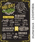 christmas menu template for... | Shutterstock .eps vector #1243493806