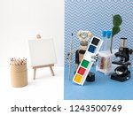 metal robot with a brush in his ...   Shutterstock . vector #1243500769