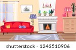 cozy interior with  flowers.... | Shutterstock .eps vector #1243510906