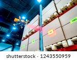 drones scans barcode. modern... | Shutterstock . vector #1243550959