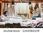 handmade linen cloth souvenirs... | Shutterstock . vector #1243583239