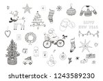christmas objects line set with ... | Shutterstock . vector #1243589230