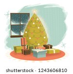 vintage christmas tree with... | Shutterstock .eps vector #1243606810