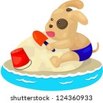 illustration of isolated puppy... | Shutterstock .eps vector #124360933