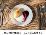top view of croissant and fruit ... | Shutterstock . vector #1243620556