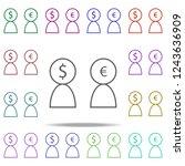 users dollar euro icon....   Shutterstock . vector #1243636909