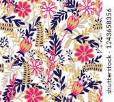 seamless pattern with hand... | Shutterstock .eps vector #1243658356