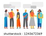 people discuss social network ... | Shutterstock .eps vector #1243672369