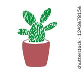 hand drawn cactus. cute... | Shutterstock .eps vector #1243678156