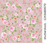 floral pattern background with... | Shutterstock .eps vector #1243680070