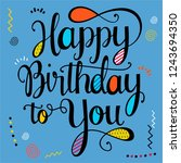 blue happy birthday card | Shutterstock .eps vector #1243694350