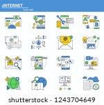 vector set of internet online...