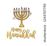 happy hanukkah greeting in... | Shutterstock .eps vector #1243707790