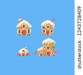 pixel gingerbread house set... | Shutterstock .eps vector #1243728409