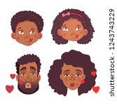 emotions of african human.... | Shutterstock .eps vector #1243743229