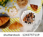 flat lay of bakery and drinks ... | Shutterstock . vector #1243757119