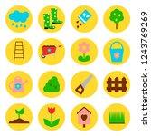 garden icons set in yellow...   Shutterstock .eps vector #1243769269
