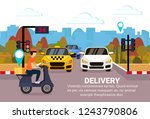 delivery man ride scooter box... | Shutterstock .eps vector #1243790806