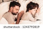 little son with tired sleeping... | Shutterstock . vector #1243792819