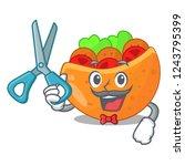 barber falafel in pita in bread ...   Shutterstock .eps vector #1243795399