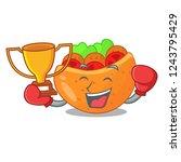boxing winner pita bread filled ... | Shutterstock .eps vector #1243795429