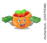 with money labneh pita bread...   Shutterstock .eps vector #1243795486
