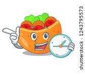 with clock pita bread...   Shutterstock .eps vector #1243795573