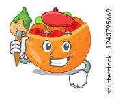 artist falafel in pita in bread ...   Shutterstock .eps vector #1243795669