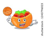 with basketball falafel in pita ...   Shutterstock .eps vector #1243796023