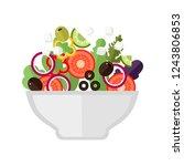 greek salad. flat vector... | Shutterstock .eps vector #1243806853