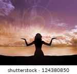 Silhouette Of Young Woman Doin...