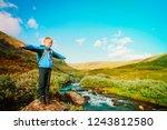 happy little boy enjoy travel... | Shutterstock . vector #1243812580
