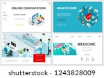 isometric healthcare websites... | Shutterstock .eps vector #1243828009