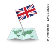 map with flag of england...