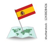 map with flag of spain isolated ...