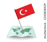 map with flag of turkey...