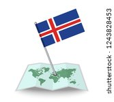 map with flag of iceland...