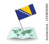 map with flag of bosnia and...