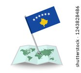 map with flag of kosovo...