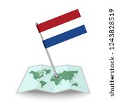 map with flag of netherlands...