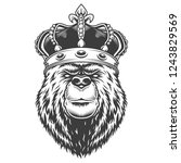 Vintage Bear Head In Royal...