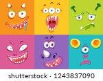 set of monster facial... | Shutterstock .eps vector #1243837090