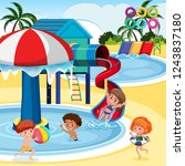 children playing at water park... | Shutterstock .eps vector #1243837180