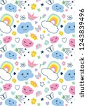 pattern with decorative... | Shutterstock .eps vector #1243839496
