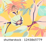 Stock vector abstract yellow floral seamless pattern with magnolias and leaves vintage tender spring texture 1243865779